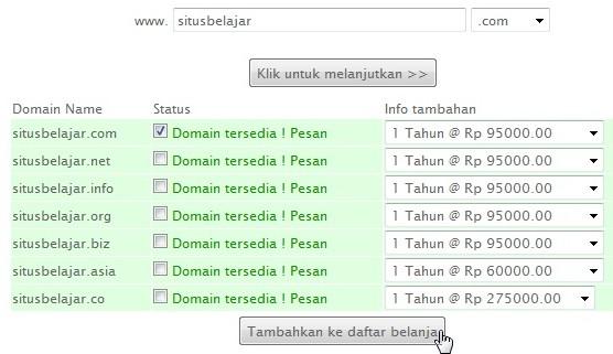 pilih nama domain yang tersedia