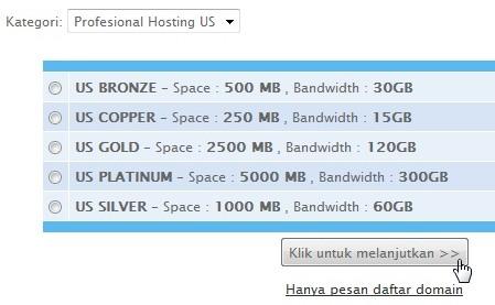 memilih kategori atau paket hosting